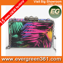 Color collision ladies acrylic art printing evening bags with chain wholesale party bags EB689