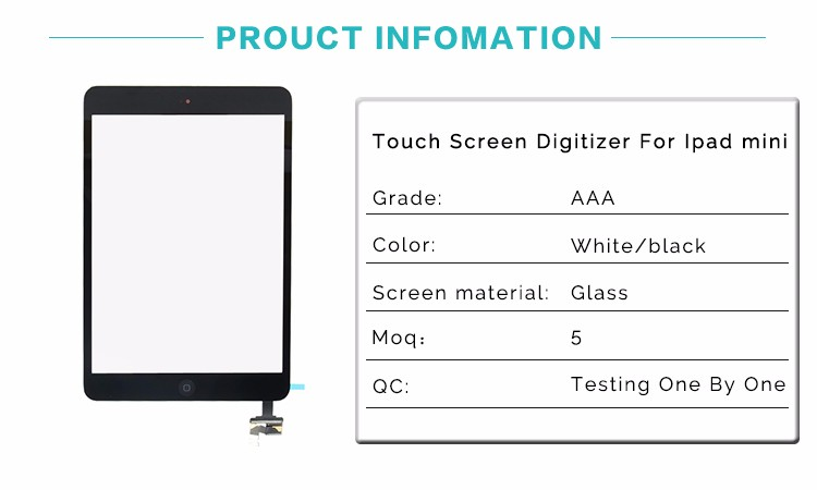 China Manufacturer Amazing Quality Replacement Touch Screen For Ipad Mini