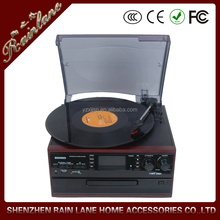 encoding vinyl player,CD recording turntable with cassette and radio