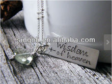 wisdom of heaven James handstamped pendant tag sterling silver with green amethyst