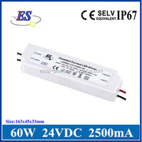 ES 60W 2500mA AC-DC Constant Current LED Driver Power with IP67