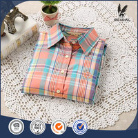 Wholesale clothing shirt woman plaid lapel 100% cotton casual new model blouses