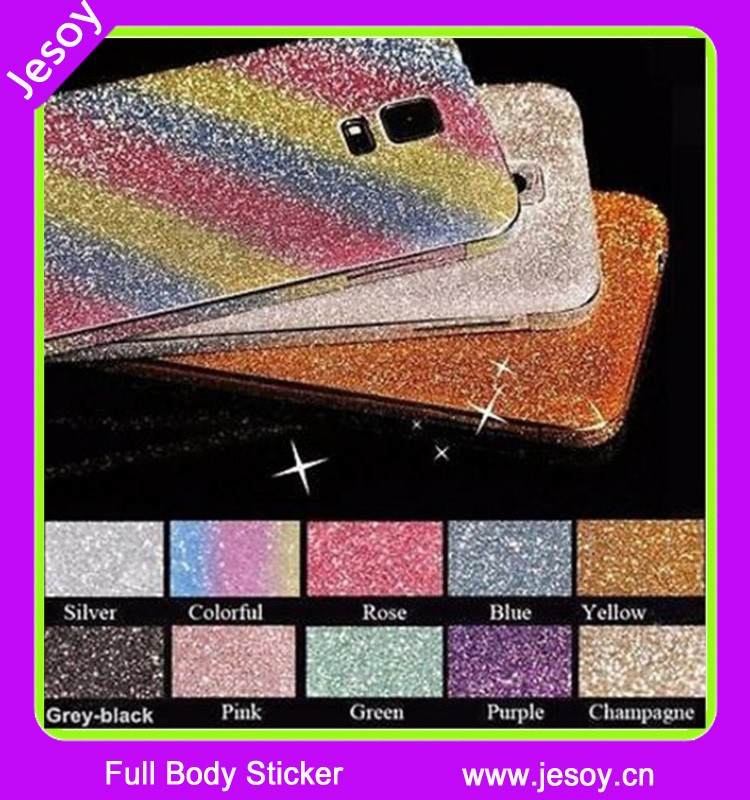 JESOY Full Body Glitter Bling Sticker Protector Luxury Cell Phone Cases Cover Skin for Samsung Galaxy S3 S4 S5 S6 S6 Edge