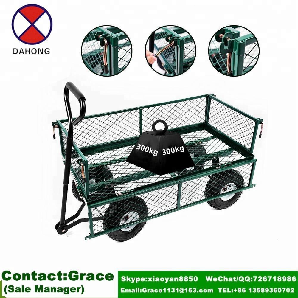 Merveilleux 1000 Lbs Heavy Duty Steel Garden Yard Cart Utility Wagon Garden Trailer  Lawn Tractor Garden Trolley 4 Wheels Barrow   Buy Garden Trailer,Garden ...