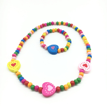 high quality low price wooden kids necklace jewelry set