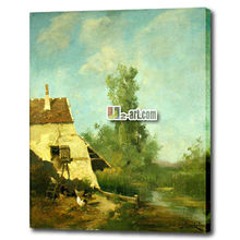 Pictures canvas village scenery drawing