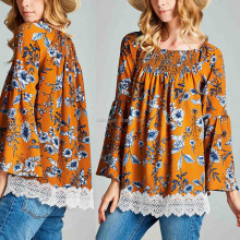 Women Fashion Orange Floral Printed Bell-Sleeve Tunic Blouses Designs for Office Ladies Tunic Top Wholesale
