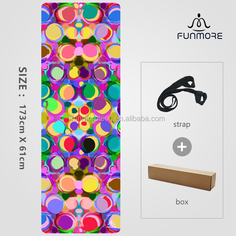 wholesale sublimation print private label suede / flannel natural rubber yoga mat