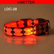 2016 Hot Sell Wholesale high quality cheap cute best Diamond shaped pattern led flashing dog collar