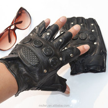 leather anti riot black police gloves cut finger