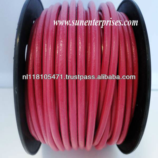 Round Leather Cords - Fuchsia - 3mm