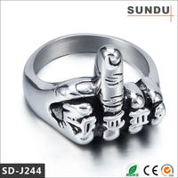 Retail prices molten products biker titanium middle finger ring