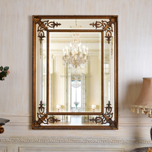 PU148 Simple Design Antique Gold Framed Wood Wall Mirror