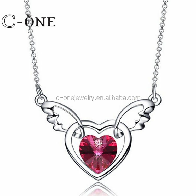 Best Selling 925 sterling silver Jewelry, Angel Wing & Heart Women Necklace