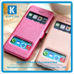 [kayoh] Top seller double window cell phone pu leather cases for Iphone 6