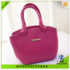 small cute style hot selling rose red color PU fashion tote bag for women