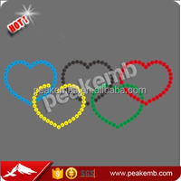 Wholesale Iron on Olympic Symbols Rhinestone Appliques for Custom Athlete Clothing in Rio