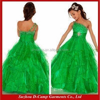 FG-124 Eye-catching one shoulder kelly green dresses for girls of 7 years old kids girls evening dresses