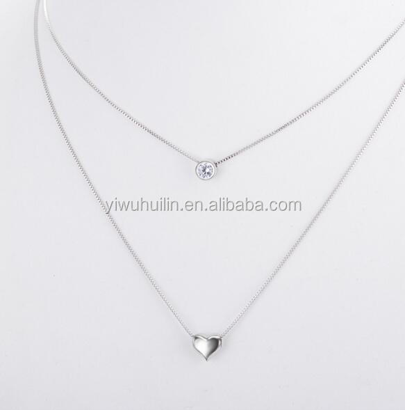YFY121 Yiwu Huilin Jewelry Fashion lady double layer heart shape crystal silver chain pendant necklace