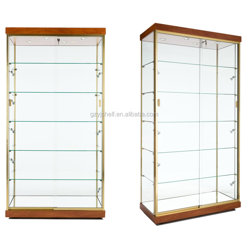 Glass door cabinet with golden frame/tall glass storage cabinet ...