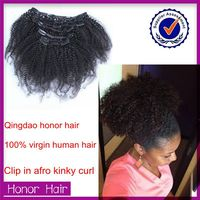 2015 Hot selling!! Wholesale Alibaba Super Quality Cheap Afro Kinky Curly Clip In Hair Extensions