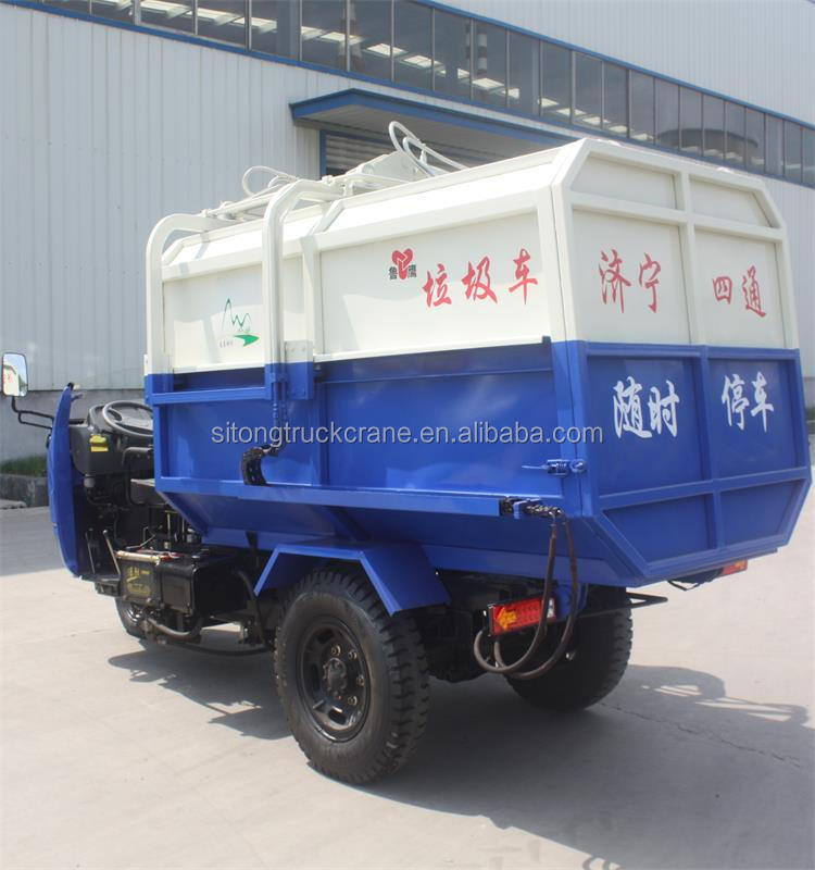 Mini 3 cbm Tricycle Dump Garbage Truck Multi Function Type
