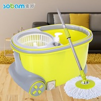 Promotional stainless steel basket microfiber 360 spin mop,yellow