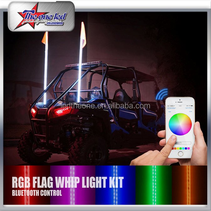 2ft 3ft 4ft 5ft 6ft LED Antenna Flags Bluetooth Control For ATV,UTV,SUV,RZR,SXS,4X4 Offroad Vehicle LED Buggy Whips Light