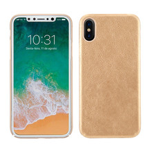 Hybrid PC + Leather cell phone case for iphone X matte waterproof mobile case