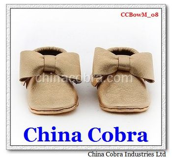 soft sole leather baby moccasins shoes fashion bow moccasins China Cobra Shoes