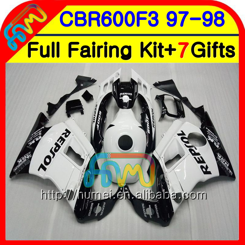 Body For HONDA CBR600RR F3 CBR600FS CBR 600 F3 97 98 14NO.1 CBR 600F3 FS CBR600F3 CBR600 F3 1997 1998 Fairing kit Repsol white