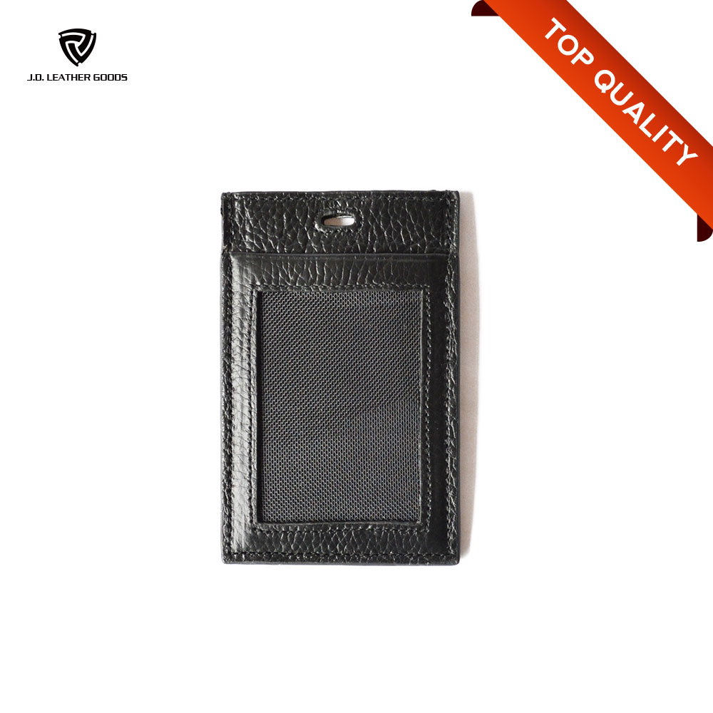 Black Leather ID Card Holder/Leather Name Card Holder with Lanyard