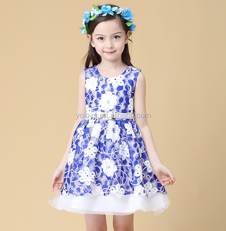 Hot sell baby girl blue&white childrens boutique clothing set wholesale childrens clothing