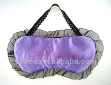 Factory made satin lace 1 color custom print logo sleeping eye mask