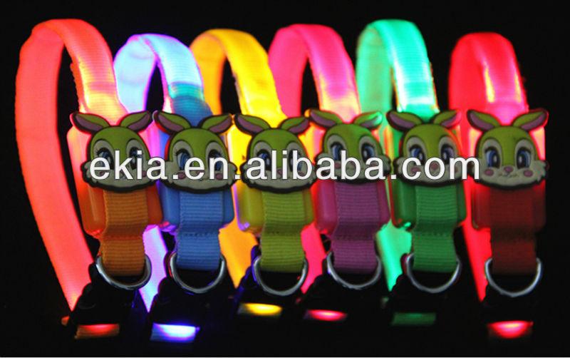 Cute Rabbit face Colorful led dog collar