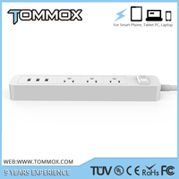 Safe Home 3 USB Port 3 Outlet Socket extension with US Plug with FCC