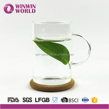 Hot Selling High Quality Gift Single Wall Heat Resistant Borosilicate Cup Glass with cork Cushion