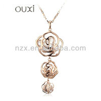 OUXI Korean style 18k gold plated flower zircon sweater chains 10492