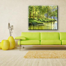 Modern cyan wall decorative landscape watercolor painting