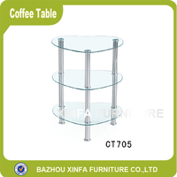 Glass Shelf 3 Layer Triangle Glass Corner Table
