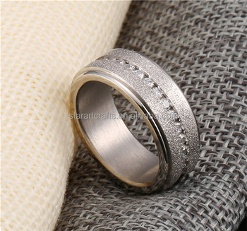Wholesale high matte polish stainless steel ring gold plated silver ring with CZ stone