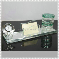 Office Table Decorative Clock + Card Holder + Crystal Pen Holder Gift