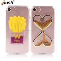 Hot sales 3D Potato heart design Quicksand Glitter Liquid TPU Phone Case Cover for iphone 7