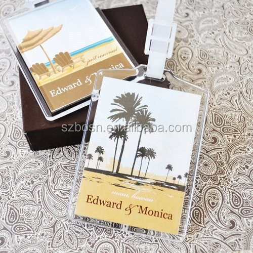 Personalized Clear Acrylic Luggage Tag Wedding Favors
