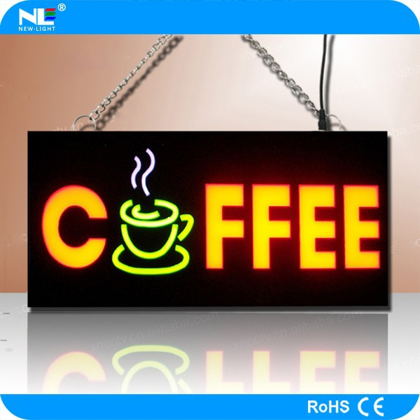 new electronic products waterproof led coffee sign / open sign / led sign board for advertising