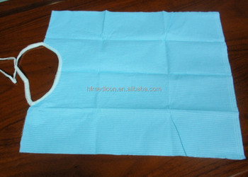 hot sale medical colourful disposable bib with tie