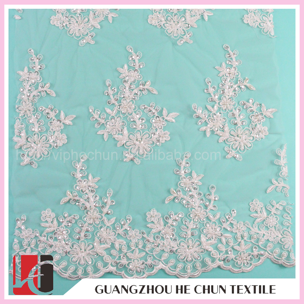 WHF-117 Hechun China 52' Width Thin Lace Import Wedding Dresses Lace Fabric with Rhinestone