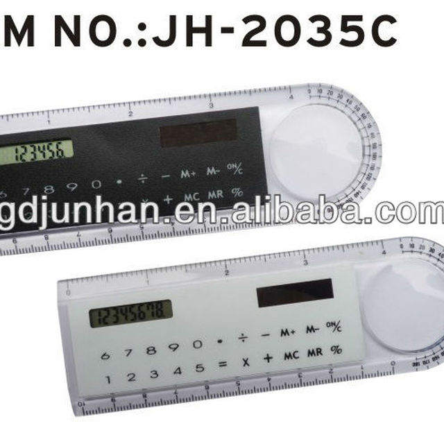 JH2035C transparent solar ruler calculator with magnifier
