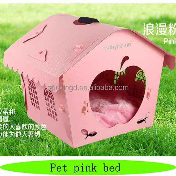 Wholesale plastic dog bed, pet pink bed, assembled dog house