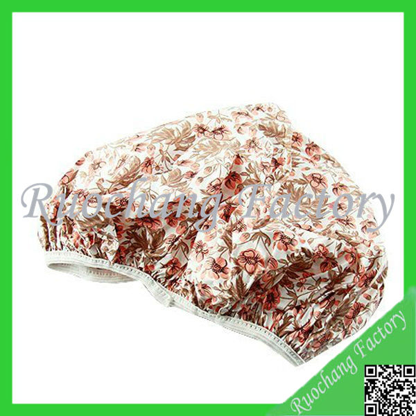 Double shower cap satin&hot silver fabric ,fabric shower cap
